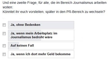 Screenshot Facebook-Frage: Könntet ihr euch vorstellen, später in den PR-Bereich zu wechseln?
